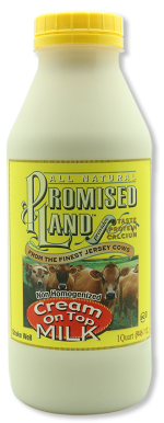 Cream on Top non-homogenized white milk from Promised Land Dairy in quart size