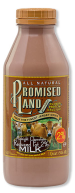 Two percent reduced fat Midnight Chocolate milk from Promised Land Dairy