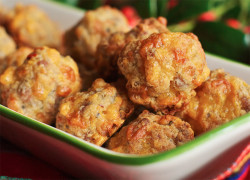 Sausage Cheese Balls recipe made with Promised Land Dairy milk