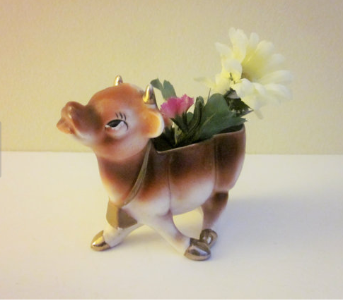 jersey cow vintage planter