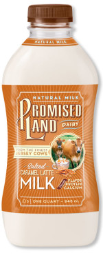 Salted Caramel Latte milk bottle image_Promised Land Dairy